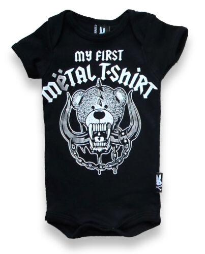 Six Bunnies Mi Primer Rock Camiseta de metal Motorhead Negro Chaleco de Bebé Mameluco Biker