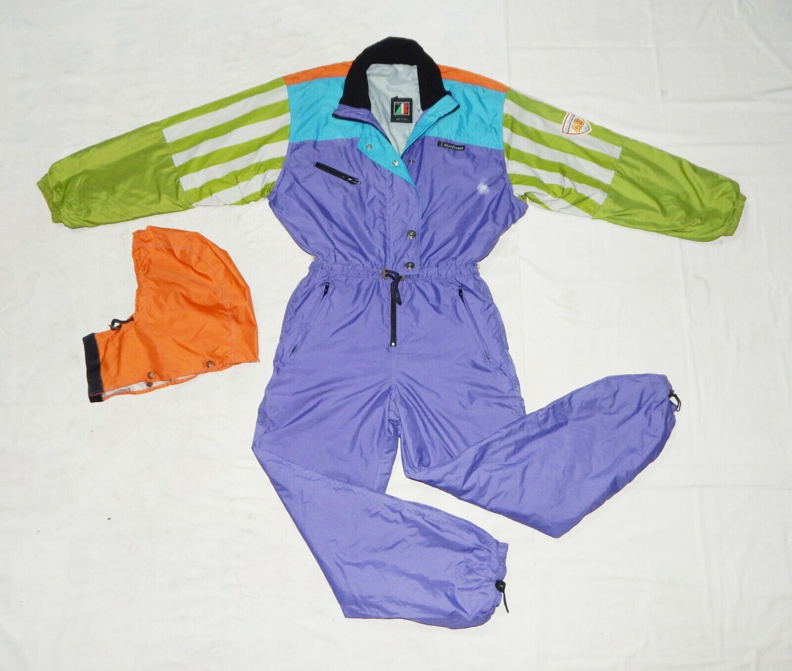 ANZI BESSON VTG 90s damen All in One Thermal Ski Suit, IT44,GB34 12,F40,Multic.