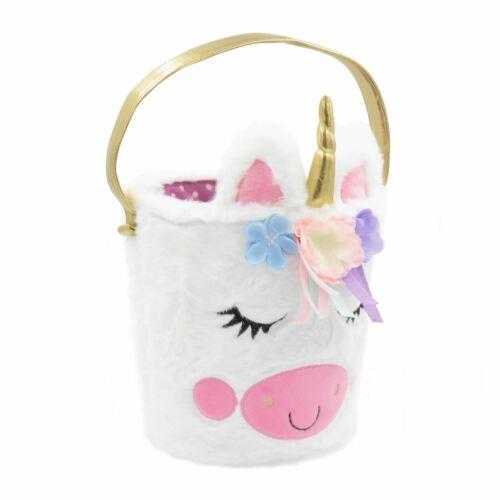 Kids Soft Plush Unicorn Basket Toy Bag Easter Egg Hunt Sweet Bucket Handbag Pony