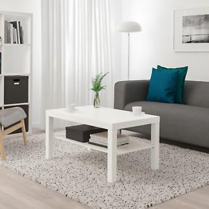 Dettagli su TAVOLINO SOGGIORNO MOBILI DESIGN MODERNO CON SCAFFALE IKEA  BIANCO- mostra il titolo originale