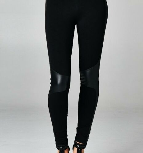 FAUX leather knee PATCH high waist LEGGINGS