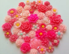15x mixed pink flower cabochons cardmaking,scrapbooking