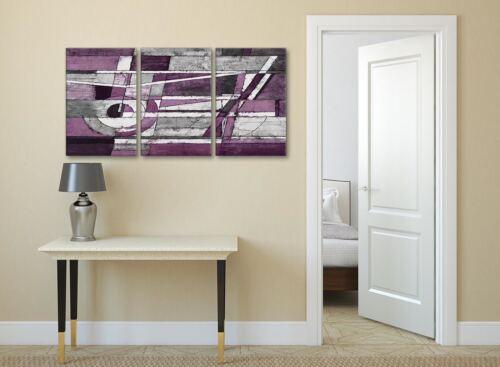 3 Panel Berenjena Gris Blanco Pintura Cocina Lona-Abstracto 3406-126 Cm