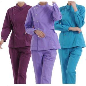 Para Mujer Uniformes Medicos Enfermeria Conjunto De Manga Larga Camiseta Pantalones Caliente Nuevo Ebay