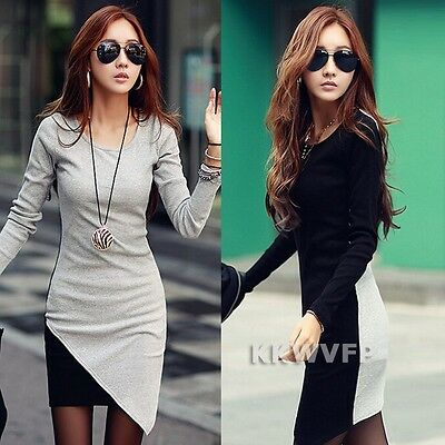 Autumn Fashion New Korean Women Long Sleeve Bodycon Patchwork Casual Party Dress