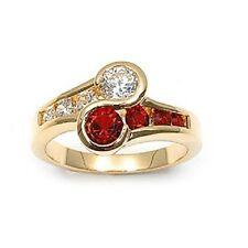 Bijoux Femme T50 Bague Joaillerie  Diamant & Rubis Cz Plaqué Or 18K T50
