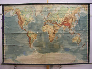 Wall Map Physical World Map Earth Germany 1935 Produced 212x140
