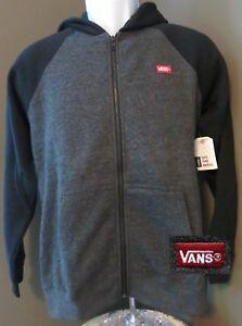 c61f08e700 VANS Boys Beardsley Raglan Full Zip Hoodie Jacket in Black   Gray ...