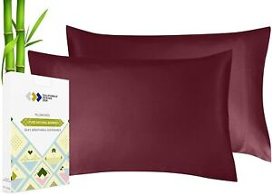 Vegan Silk Cooling Pillow Cases - Set of 2, Plant Based Bamboo Fabric, Soft & Si