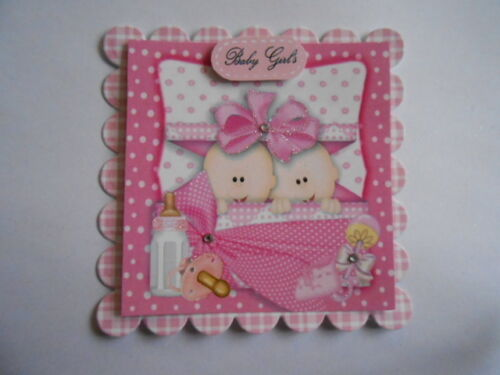 PACK 2 PRETTY PINK TWIN GIRLS EMBELLISHMENT TOPPERS  FOR CARDS /& CRAFTS