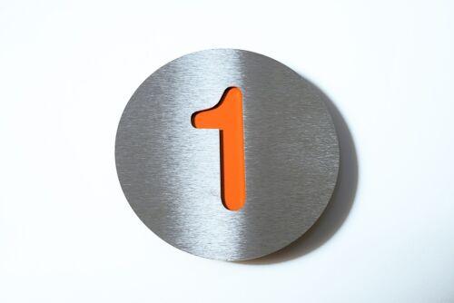 """Radius Design Hausnummer /""""1/"""" edels.//orange"""