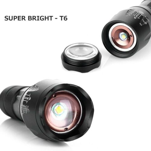 UK Outdoor Tactical LED T6 50000LM Lamp Flashlight Zoomable Torch 5-Mode 18650