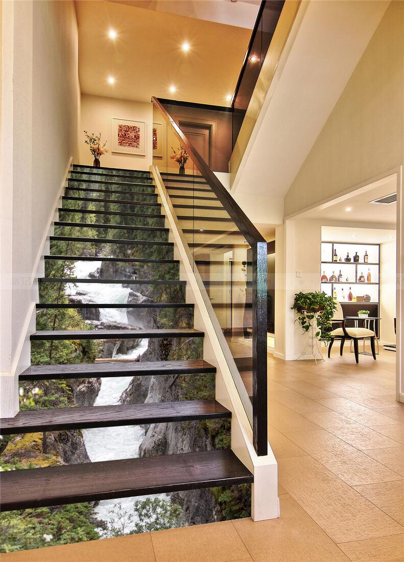 3D River Rapids 120 Stair Risers Decoration Photo Mural Vinyl Decal Wallpaper AU