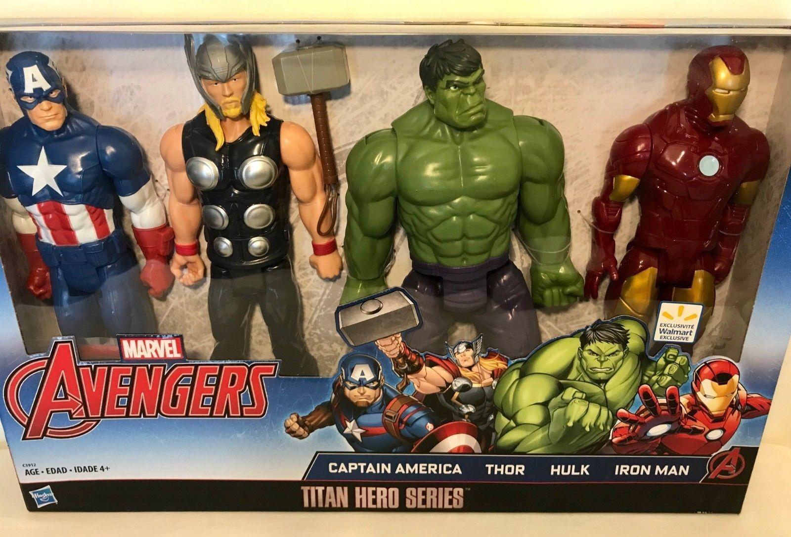 MARVEL Avengers Titan Hero Series 4Pk azione cifras Thor Hulk  Iron uomo 12  nuovo  tempo libero