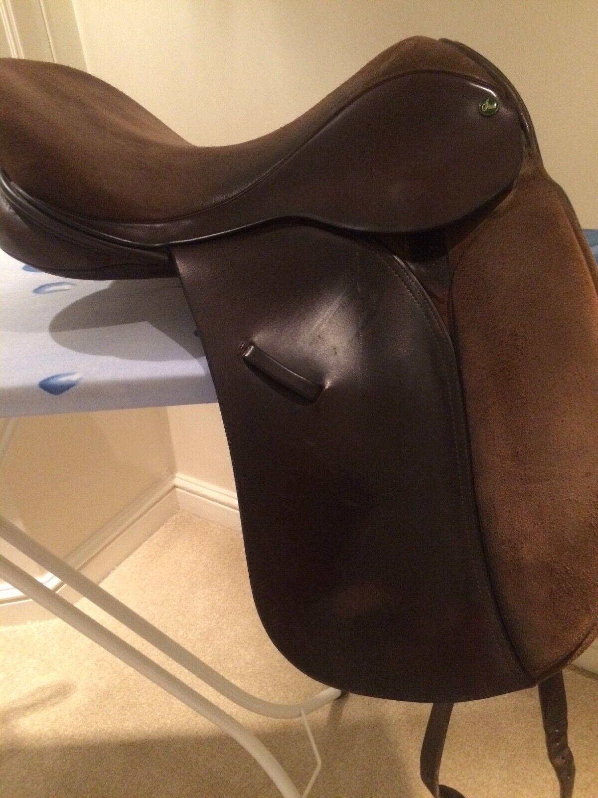 """Ideal jessica 17"""" Havana Leder/ suede dressage saddle saddle dressage 3c3d6c"""