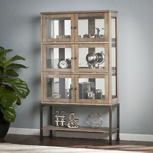 Image Is Loading Lighted Curio Display Cabinet Mirrored Dining Entryway Storage