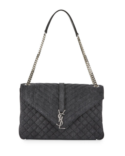 AUTH NEW WOMEN YVES SAINT LAURENT MONOGRAM LARGE CHAIN TRI QUILT KATE BAG  PURSE d783ce25fc