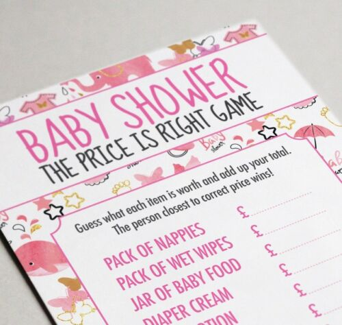 Baby Shower /'Price is Right/' Game Pink Watercolour Design 16 A6 Party Cards