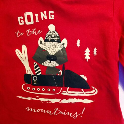 Baby Boy Red Long Sleeve Top with /'Going to the Mountain/' detail