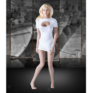 1:6 Scale Action Figure Accessory White Long Sleeve Hip Skirt Dress Model Toy