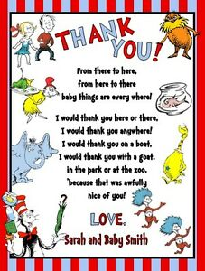 Dr Seuss Lorax Cat Hat Baby Shower Or Birthday Party Thank You Note