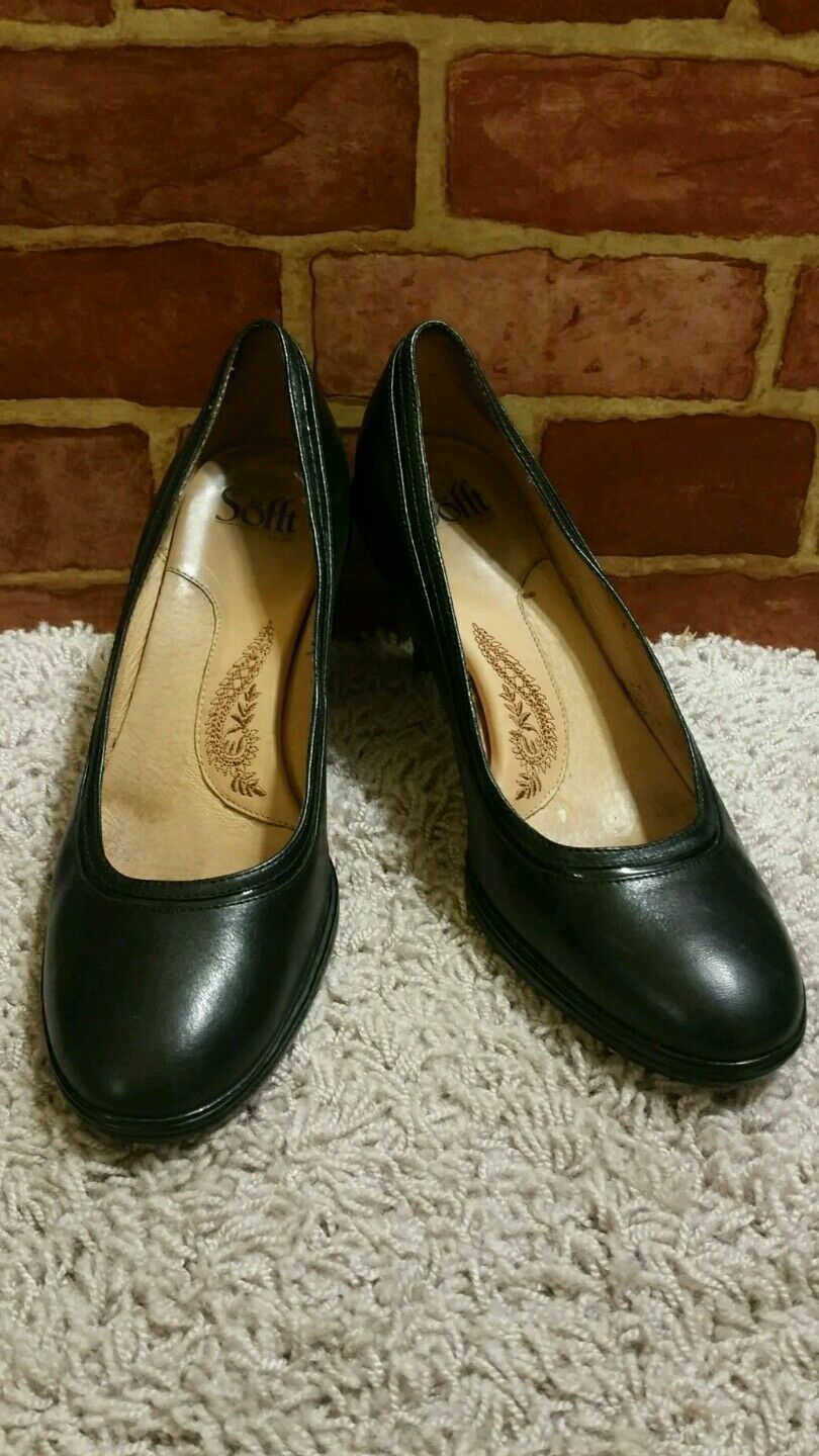 "SOFFT 3"" BLACK LEATHER HEELS PUMPS SIZE 9.5M 1595"