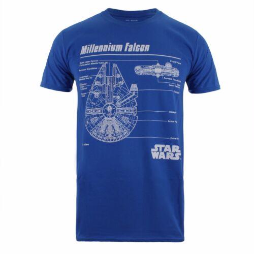 Sizes S-XXL Blue Star Wars Millennium Falcon Schematics Mens T-Shirt