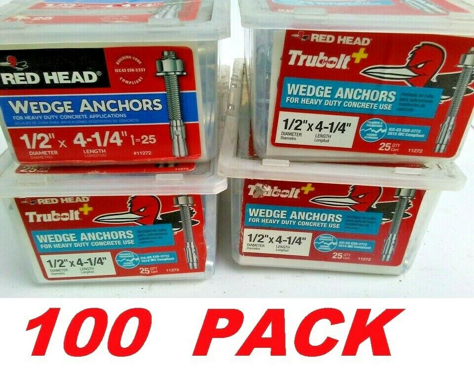 Red Head 25-Pack 4-1//4-in x 1//2-in Wedge Anchors