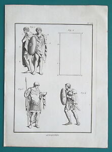 ROMAN-ARMY-Soldiers-Dress-Chlamys-Sagum-1804-Antique-Copperplate-Print
