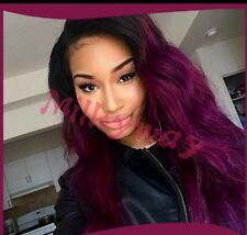 """Black And Purple Ombré Front Lace Wavy Wig Synthetic 20"""""""