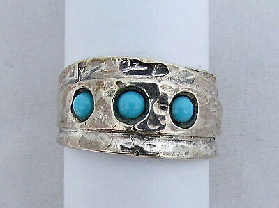 Handmade Vintage 925 Sterling Silver Ring Size 7 with Natural Turquoise
