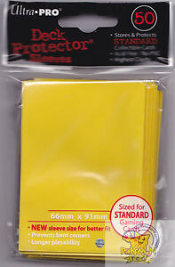 50-ULTRA-PRO-YELLOW-DECK-PROTECTORS-CARD-SLEEVES-FOR-MTG-WoW-POKEMON