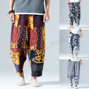 INCERUN-Mens-Womens-Japanese-Floral-Samurai-Boho-Harem-Hakama-Pants-Trousers-UK