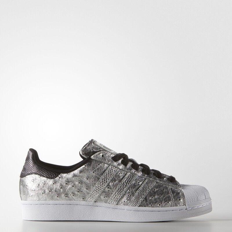 Nuevos Zapatos Originales para hombre Adidas Originales Zapatos Superstar [AQ4701] Metálico Plata // Blanco-Negro c01663