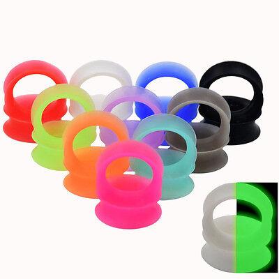 1 Pair Thin Flexible Silicone Ear Skin Tunnels Plugs Ear Gauges Earskin Earlets