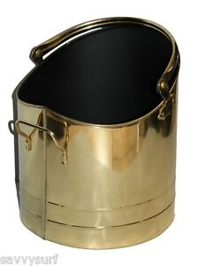 Image is loading Traditional-Brass-Coal-Bucket-Coal-Hod-Log-Holder- aa3a3f8018e5