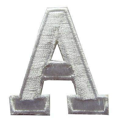 "1-3/4"" Beige White Letter ""A"" Embroidery Iron On Appliqué Patch/Old Stock"