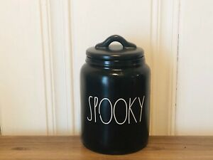 Rae-Dunn-Halloween-By-Magenta-SPOOKY-Farmhouse-Baby-Small-Black-Canister-NWOT