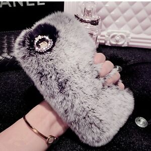 finest selection f9b46 dcc4b Details about Warm Soft Fluffy Rabbit Fur Case Crystal Rhinestone Phone  Cover for iPhone 7 6S