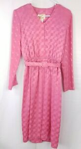 Herman-Marcus-Vintage-Dress-Pink-Checkered-Belted-Long-Sleeve-V-Neck-Womens-Sz-8