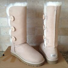 UGG BAILEY BUTTON TRIPLET TRIPLE SAND SUEDE SHEEPSKIN BOOTS US 12 WOMENS *LAST!