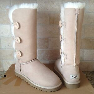 9134693ecd2 Details about UGG BAILEY BUTTON TRIPLET TRIPLE SAND SUEDE SHEEPSKIN BOOTS  SIZE US 11 WOMENS
