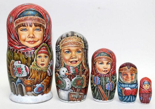 Russian Matryoshka Muñeca Anidación Rusas Belleza Invierno Hecho a Mano Exclusivo
