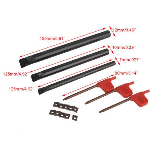 3pcs 7//10//12mm SCLCR CNC Lathe Boring Bar Holder 10pcs CCMT0602 Carbide Insert