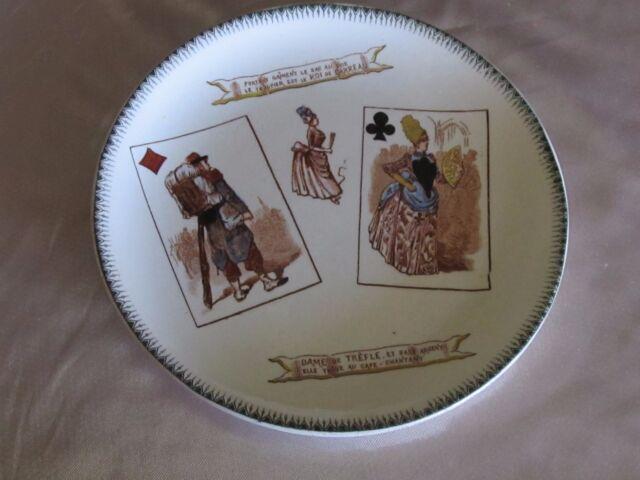 Plato loza Choisy-le-Roi fino Siglo xix Juego de folios Dame azulejo ROI trébol