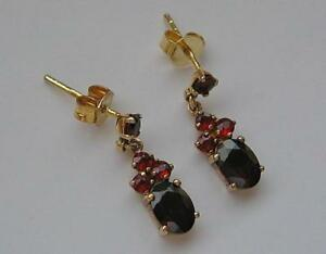 Granatohrringe-Ohrstecker-mit-Granat-Steinen-garnet-earrings-aus-8-Kt-333-Gold