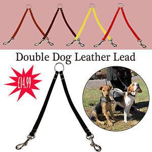 Piel-2-Sentidos-Doble-Dog-Cable-Para-Perros-A-Pie-Hecho-Mano-En-Inglaterra