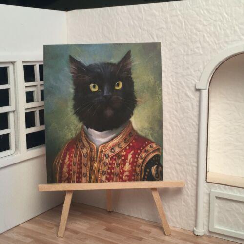 Miniature Dollhouse Shadow Box Art Black Cat Royal Sultan Renaissance Handmade