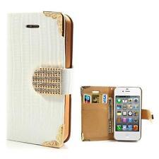 Tasche Schutz Hülle Flip Cover Case für Iphone 4 4S KROKO STRASS WEIß GOLD 52B