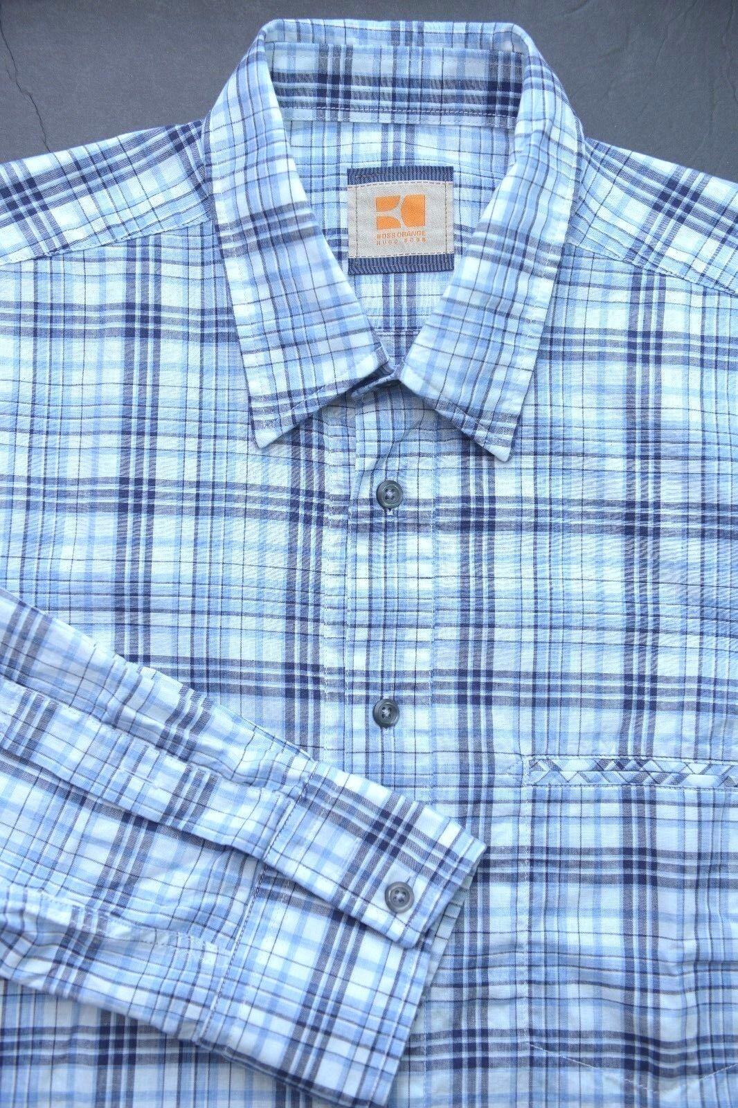Hugo Boss orange Men's CieloebuE bluee Plaids Cotton Casual Shirt New M